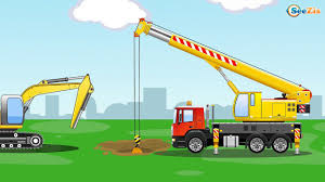 the excavator and the truck kids cars cartoon construction
