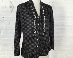 black polka dot blouse polka dot blouse etsy