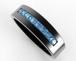 men in black wedding band men s blue diamond wedding band in black gold vidar jewelry