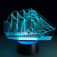 loskii dl 3d1 creative sailing boat usb 3d led lights colorful