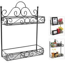 wrought iron wall mounted kitchen shelves in black tone elegant