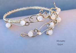 wire bracelet with beads images Bridal moonstone beaded wire arm bracelet by ianirasartifacts on jpg
