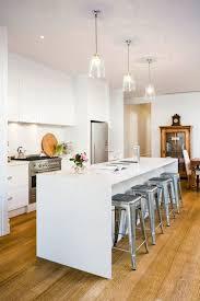 white quartz waterfall kitchen island countertop design ideas