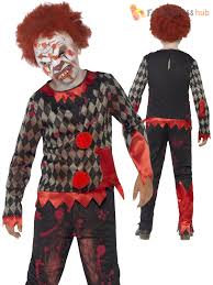 kids zombie clown costume u2013 halloween circus creepy fancy dress
