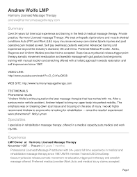 Sample Resume For Massage Therapist by Fascinating Massage Sales Resume Massage Therapist With Massage
