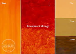 shades of orange colour transparent glaze palette gamblin artists colors