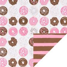 pink donuts stripes reversible wrapping paper the container store