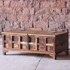 reclaimed wood aimee reclaimed wood trunk coffee table storage