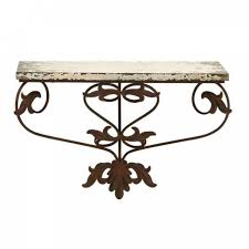 wooden shelf with beautiful intricate metal scroll frame
