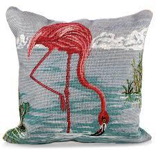 needlepoint pillow flamingo in water pillows home decor