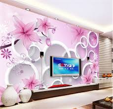 3d elegant pink lily photo wallpaper custom flower wall mural silk