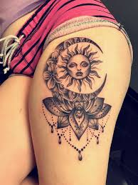 probably my favourite tattoo large thigh price hippy moon and