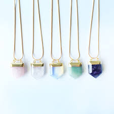 natural quartz necklace images Natural stone quartz pendant hello supply modern jewelry jpg