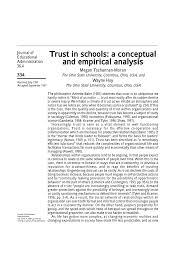 a conceptual and empirical analysis of trust in schools pdf