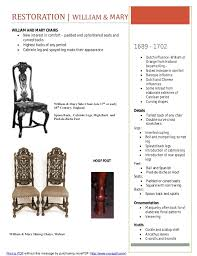 William And Mary Chair Furniture Timeline Assignment
