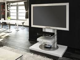 tv tables modern rectangle white tv stand with glass shelves and swivel mount on