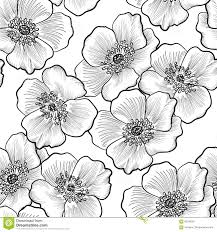 floral seamless pattern flower background flourish sketch blac