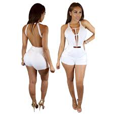 white jumpsuits and rompers for sleeveless white backless palysuit v neck shorts