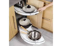 rangement angle cuisine kit d angle à 2 plateaux sortants angle droit flymoon conforama