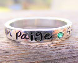 mothers rings stackable engraved mothers ring personalized birthstone stacking ring sted