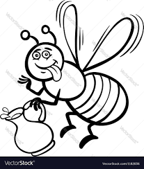 honey bee cartoon for coloring book royalty free vector