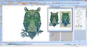 tribal owl embroidery design screen at wilcom software now