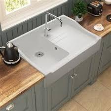 vasque cuisine poser évier à poser céramique blanc gabin 1 bac 1 égouttoir deb