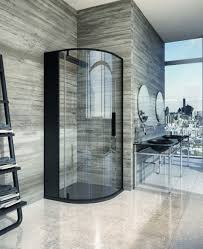 Simple Elegant Bathrooms by Grey Wood Wall Tile With Cool Corner Shower Glass Enclosure In