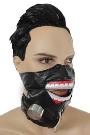 black faux leather biohazard zipper mouth muzzle s m face mask