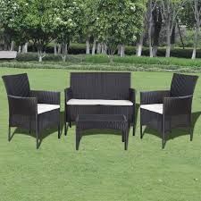Garden Chairs And Table Png Black White 7 Pcs Garden Furniture Lounge Set Black Poly Rattan