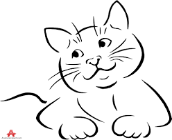 happy sitting cat outline drawing free clipart design download