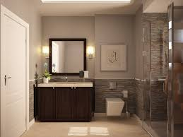 brown wooden laminated floor elegant bathroom design red brick