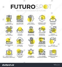 stroke line icons set future technology stock vector 380759680
