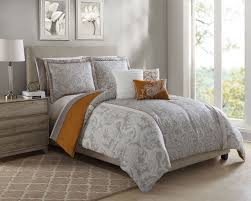 10 Pc Comforter Set Piece Annalise Taupe Orange Ivory Comforter Set W Sheets