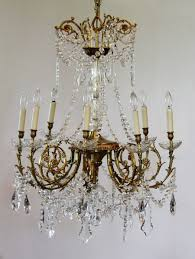 Crystal Chandeliers Antique Rare Baccarat Gilt Bronze Crystal Chandelier Showstopper