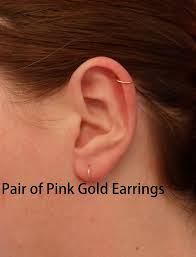 gold cartilage earrings pink gold hoop earrings pair cartilage tragus helix eyebrow