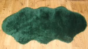 Faux Fur Sheepskin Rug Plain Fluffy Washable Soft Fake Faux Fur Dark Green Colour