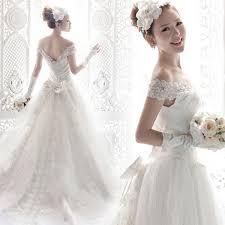 wedding dress korea 2014 wedding dress lace white luxury slit neckline lace bag