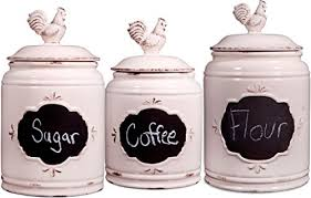Bathroom Jars With Lids Set Of 3 Ivory Ceramic Round Chalkboard Rooster Canister Jars With