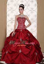 fifteen dresses embroidery in wine taffeta ups strapless modest