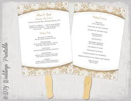 burlap wedding programs wedding program fan template rustic burlap lace