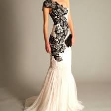 Black And White Wedding Dress White Wedding Gown Black Lace Wedding Short Dresses
