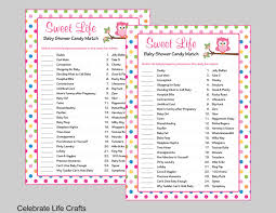baby shower sweet life candy bar match game printable baby