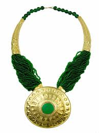 gold green necklace images Large green gold ethnic gladiator necklace jpg