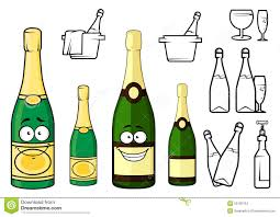 cartoon white wine champagne bottles cartoon characters and icons stock vector