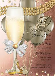 50th Birthday Invitation Cards 50th Birthday Invitation For Women Fifty And Fabulous Birthday