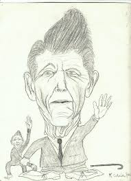 a caricature of ronald reagan by kurt cobain drawn during 1st