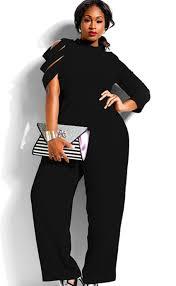 plus size jumpsuit plus size irregular sleeves high waist jumpsuit black girly