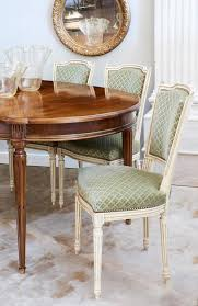 set of antique french louis xvi style sage green dining chairs for