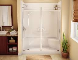 Stainless Steel Shower Stall Minimalist Bathroom With Double Clear Transparent Fiberglass Door